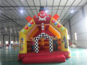 CLOWN 5X5 PLAIN JUMPING CASTLES WITH POP UPS AND HORSES AND BASKETBALL HOOP